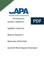 Adalberto Contreras Tarea 9 Español 1