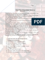 Charlie and the chocolate factory reading comprehension