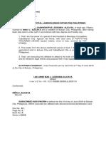 Affidavit of Landholdings