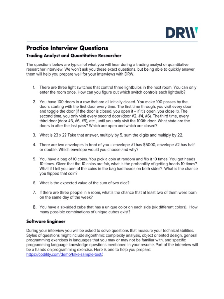 DRW 2017 Practice Interview Questions