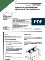 NÃO UTILIZADA - NBR 10835 - 1994 - Bloco vazado de solo cimento sem função estrutural - Forma e dimensões