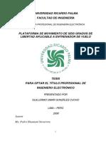 Universidad Ricardo Palma Facultad de Ingeniería Plataforma de Movimiento de Seis Grados de Libertad Aplicable a Entrenador de Vuelo