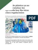 Bolsas de plástico ya no serán gratuitas