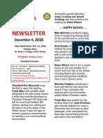 Moraga Rotary Newsletter for December 4, 2018