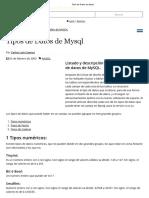 Tipos de Datos de Mysql