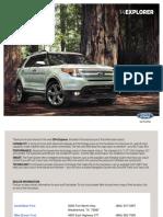 2014 Ford Explorer Brouchure