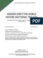 Answer Sheet World History Sectional Test VIII