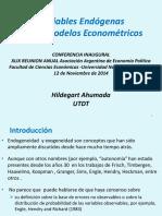 variables endogamias en modelos  econométricos