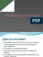 Creación de tablas de datos