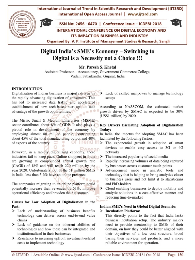 Digital India's SME's Economy - Switching to Digital is a
