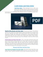 Mengenal Lebih Dalam Judi Poker Online