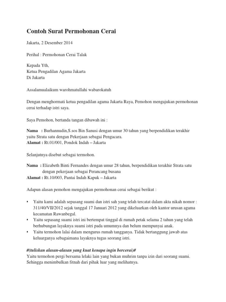 Contoh Surat Cerai Talak 2