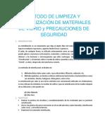Método de Limpieza y Esterilización de Materiales de Vidrio y Precauciones de Seguridad
