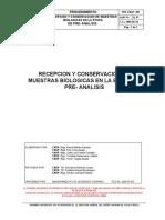 PRT-CNSP-001 Recepción y Conservación de Muestras