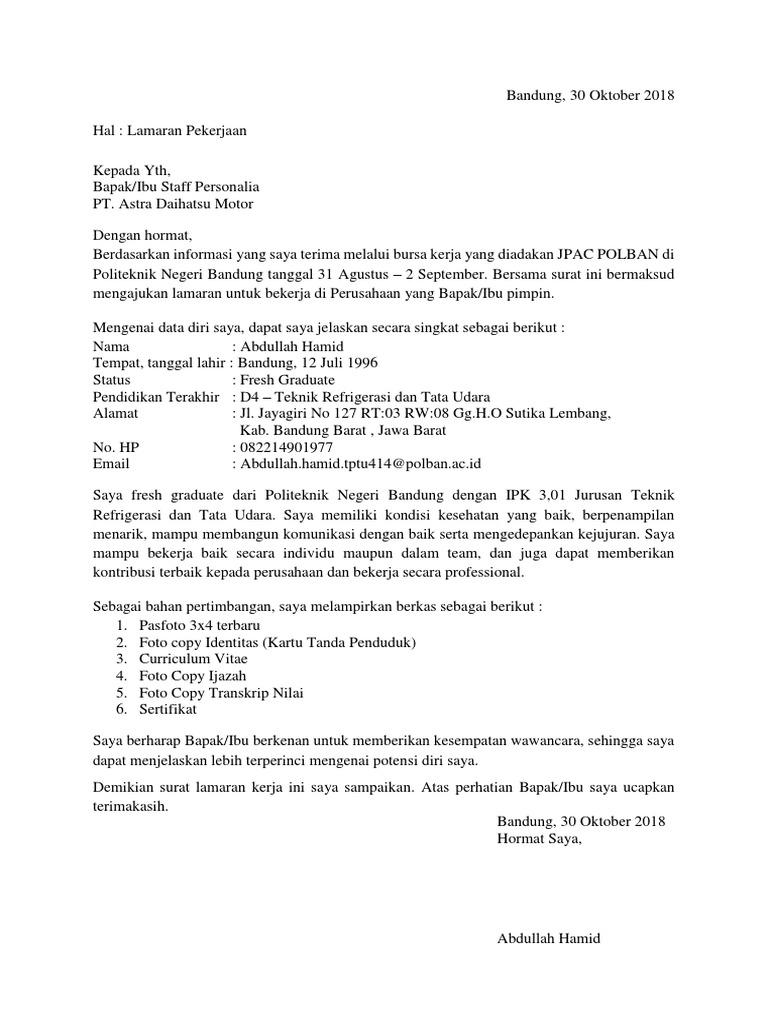 Contoh Surat Lamaran Kerja Umum Untuk Job Fair Contoh Seputar Surat