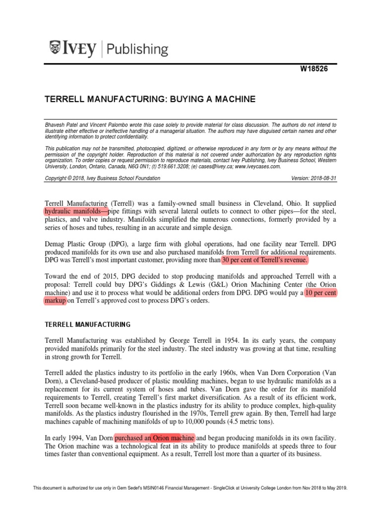 Terrell Manufacturing Buying a Machine - Moodle ...