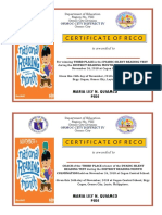 2018 District Reading Month Certificate