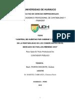 """""""CONTROL DE CUENTAS POR COBRAR Y SU INCIDENCIA EN LA RENTABILIDAD DE LOS COMERCIANTES EN EL MERCADO DE PUELLES-PERIÓDO 2018"""""""