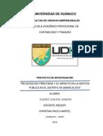 Recaudación tributaria y su impacto en la Gestión Publica en el distrito de Amarilis 2018