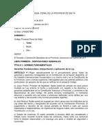 Codigo Procesal Penal de La Provincia de Salta