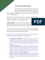 Synopsis Ratio Analysis