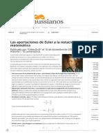 Las Aportaciones de Euler a La Notación Matemática _ Gaussianos