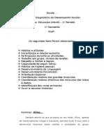 Modelo de Relatório de Avaliação Primeiro Semestre