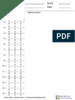 Fractions_ Adding Den 1-12, Similar Denominators