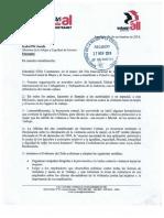 Carta Entregada a Ministra de La Mujer