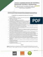 109 portant Publication de La Liste Provisoire Des Candidats FECAFOOT