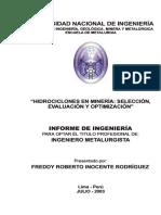 Hidrociclones en Mineria, Seleccion, Evaluacion y Optimizacion