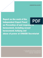Report on the work of the Independent Expert Panel on Prevention of and response to harassment, including sexual harassment; bullying and abuse of power at UNAIDS Secretariat