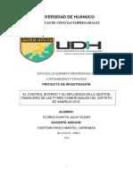 EL CONTROL INTERNO Y SU INFLUENCIA EN LA GESTION FINANCIERA DE LAS PYMES COMERCIASLES DEL DISTRITO DE AMARILIS 2018.
