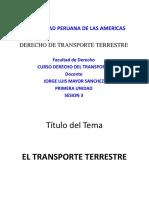 4. Tercera Semana Derecho de Transporte Terrestre Sutran Superintendencia de Transportes