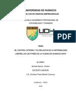 """""""EL CONTROL INTERNO Y SU RELACION EN LA INFORMALIDAD LABORAL EN LAS PYMES DE LA CIUDAD DE HUANUCO-2018""""- ARANDA AQUINO,JHULINO"""