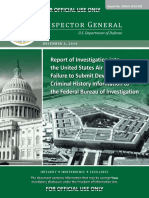 Report of Investigation into the United States Air Force's Failure to Submit Devin Kelley's Criminal History Information to the Federal Bureau of Investigation