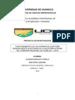 """""""FUNCIONAMIENTO DE LAS NORMAS DE AUDITORÍA GENERALMENTE ACEPTADAS EN LA AUDITORÍA INTERNA DEL GOBIERNO REGIONAL DE HUÁNUCO – 2018"""""""