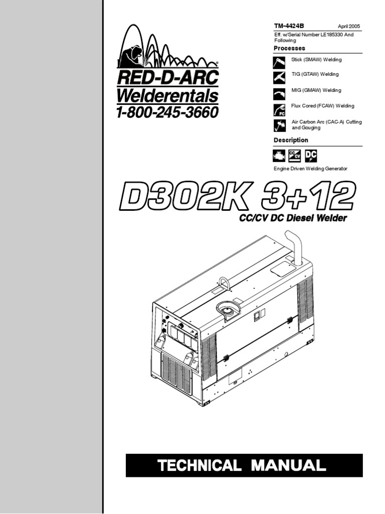 engine driven Miller D302K3-12 Technical Manual | Diesel Engine