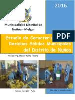 Estudio de Caracterización de Residuos Sólidos Municipales Del Distrito de Nuñoa Ultimo