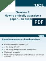 How to Critically Appraise a Paper Caroline Sabin