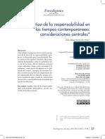 Ética de La Responsabilidad en Los Tiempos Contemporáneos Consideraciones Centrales