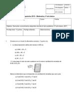 Diagnóstico matemática de 4º año básico 2018