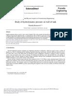 Study of Hydrodynamic Pressure on Wall of Tank