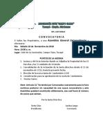 modelo de convocatoria asamblea de condominio