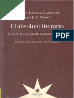Lacoue-Labarthe, P & Nancy, J. L - El Absoluto Literario - Eterna Cadencia 2012