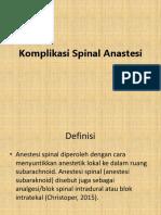 Komplikasi Spinal Anastesi