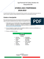 Convocatoria LNCA 4ta Temporada 2019