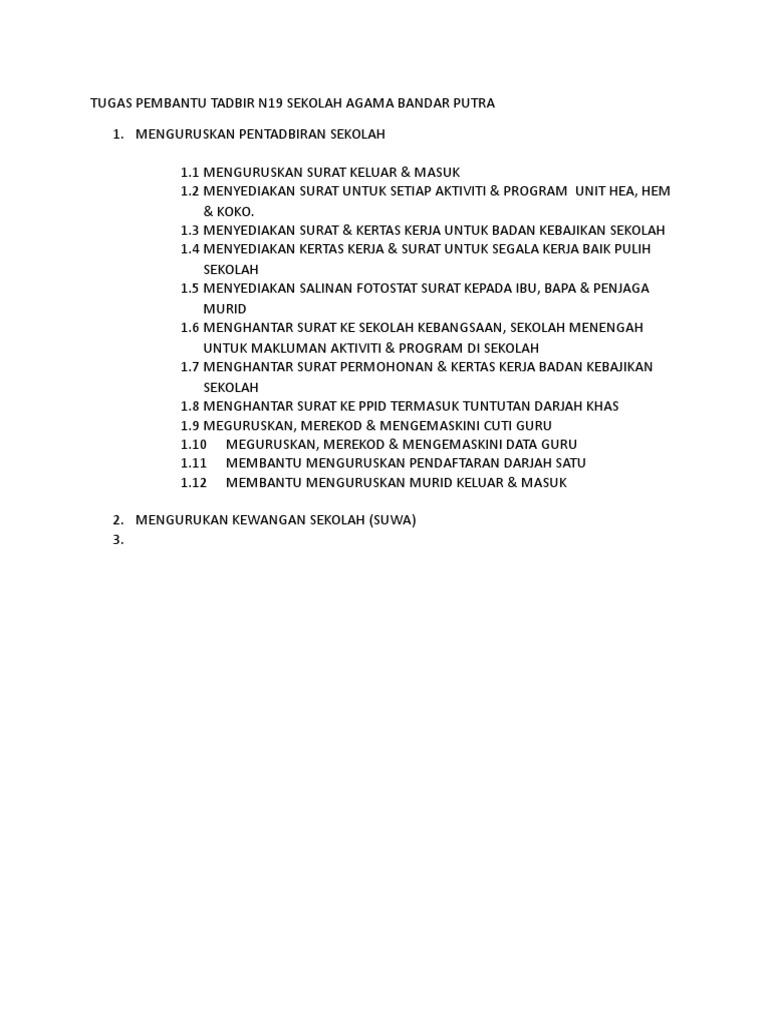 Tugas Pembantu Tadbir N19 Sekolah Agama Bandar Putra