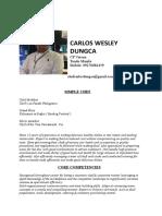Carlos Wesley Dungca Resume New