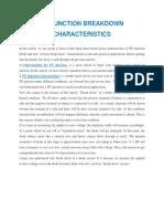 PN Junction Breakdown Characteristics
